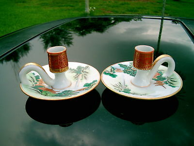 HAND-PAINTED VINTAGE JAPAN  2 CANDLE HOLDERS BEAUTIFUL