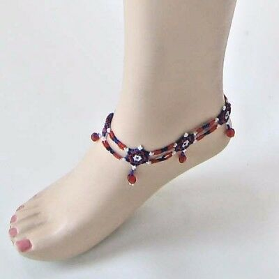 Handmade Blue Red White Patriotic Stretchable Barefoot Dress Anklet