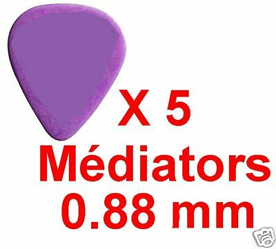 5 Médiators Taille 0,88 mm Nylon Relief Couleur Pourpre