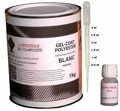 1kg. de GEL COAT POLYESTER MARINE ISO. BLANC + catalyseur & pipette doseuse.