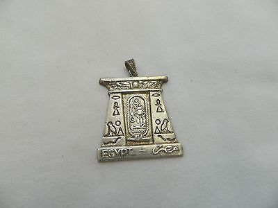 Egyptian Sterling Silver Cartouche Temple Pendant 1.75""