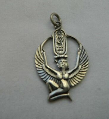 Egyptian Sterling Silver Isis Cartouche Pendant  1.75'