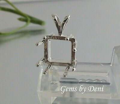 Square 8-Prong Sterling Silver Pendant Setting (6-11mm)