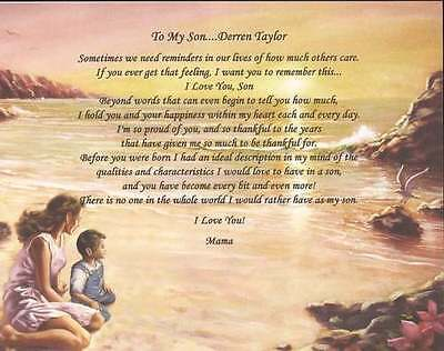 Personalized Poem for Son from Mother Perfect Gift for Birthday Christmas or Any