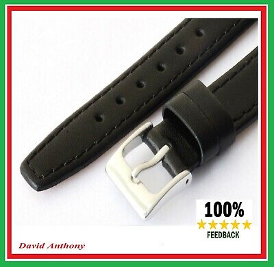 Quality, 11mm to 22mm BLACK Leather Watch Strap, Real Calf,  VERY POPULAR. L2
