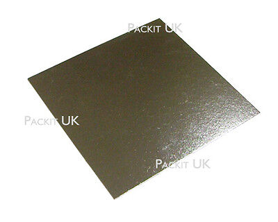"50 x  8"" Inch Square Silver Cake Board 3mm DOUBLE THICK"