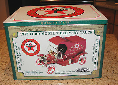 TEXACO GEARBOX DIECAST 1913 MODEL T DELIVERY TRUCK & TIN BOX 1997 #4330 of 5000