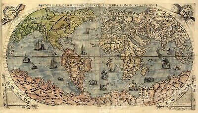 1565 Historic Large World Map Decorative Print - 14x24
