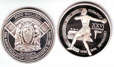 Ex.Rare 1996 Tanzania Silver 2000 s pattern Olympic Discus T2