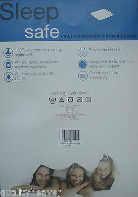 HEAVY DUTY WATERPROOF MATTRESS COVER Plastic Bed Protector Sheet NEW Fitted - UK