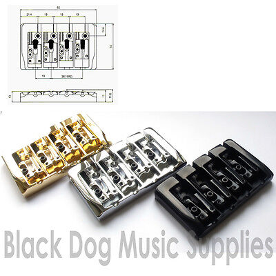 Quality bass guitar bridge in chrome black, gold BB404
