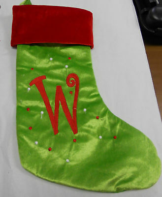 POLYESTER MONOGRAM STOCKING (W) GREEN AND RED