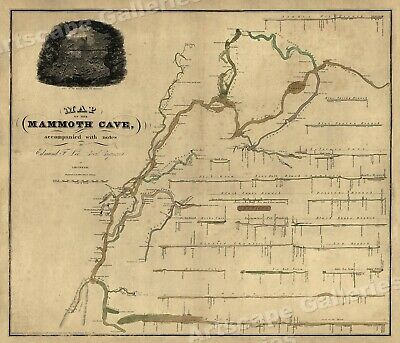 1835 Mammoth Cave Kentucky Spelunking Map - 20x24