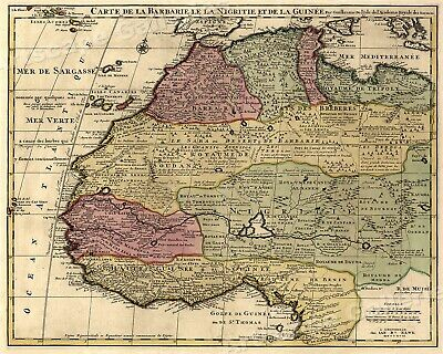 North Africa Vintage Style Map 1700's Wild Africa - 20x24