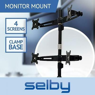 "15-24"" Quad LCD 4 Screen Desktop Computer Monitor VESA Mount Stand Clamp Base"