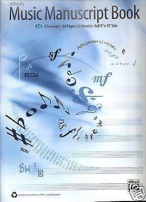 "MUSIC MANUSCRIPT BOOK 10 STAVES 64 PAGES FULL 9"" x 12"""