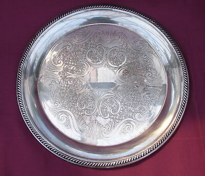 """Silver Tray F B Rogers Co. Label Sign 12 3/4"""" Vintage"""
