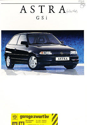 1992 Opel Astra Gsi Original Dutch Sales Brochure 11/92