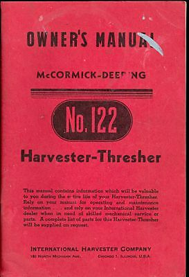 International Harvester Thresher No. 122 1948 Owners Manual Farm Equipment