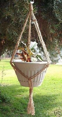 Macrame Plant Hanger 35in SIMPLE 3-ARM Natural 6ply JUTE