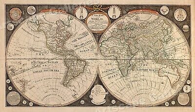 1799 Historic World Map Discoveries by Capt. Cook 14x24