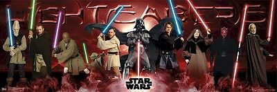 STAR WARS ~ JEDI KNIGHTS LIGHTSABERS 21x62 MOVIE POSTER