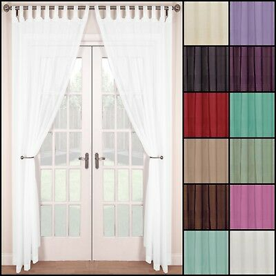 PAIR (2 panels) WOVEN VOILE TAB TOP NET CURTAIN PANELS.