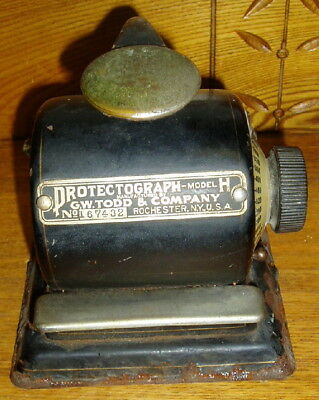 Old / Antique GW Todd Protectograph Model H