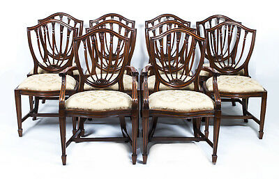 Fabulous Set 10 English Hepplewhite Dining Chairs