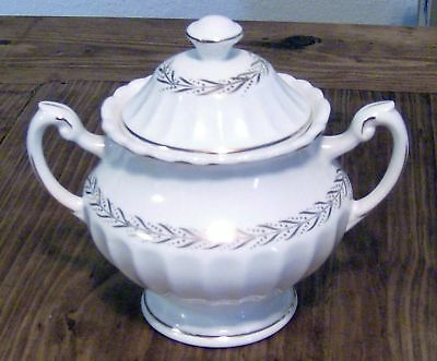 JG Meakin Classic White Gold Laurel Sugar Bowl with Lid