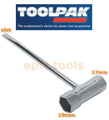 TOOLPAK GS31 17mm & 19mm Double Box Hex Spark Plug Spanner With Slot End