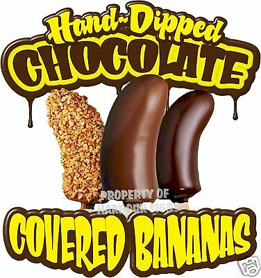 """Chocolate Covered  Bananas Concession Decal 14"""" Food Truck Vinyl Menu Sticker"""