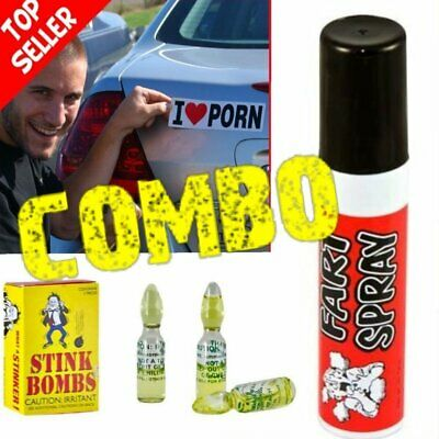 """1 Fart Spray Can + 3 Stink Bombs + 1 """"I Love Porn"""" Car Magnet  ~ COMBO!"""