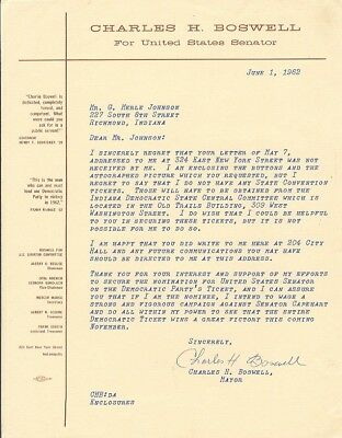 CHARLES BOSWELL signed TLS letter INDIANAPOLIS MAYOR
