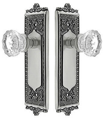 ELEGANT CRYSTAL & SATIN NICKEL FRENCH DOOR SET—Surface Mount for French Doors