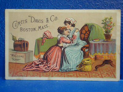 c1880 Curtis-Davis Soap Trade Card/LESBIAN EMBRACE