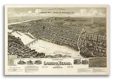 1892 Laredo Texas Vintage Old Panoramic City Map - 24x36