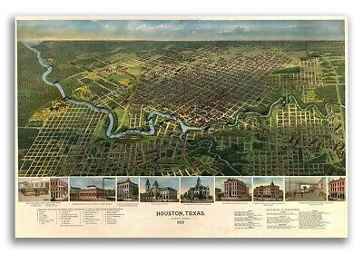 1912 Houston Texas Vintage Old Panoramic City Map 24x32