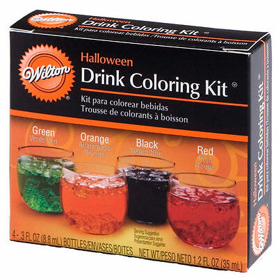 Halloween Drink Coloring Kit 4 Colors from Wilton #214 - NEW