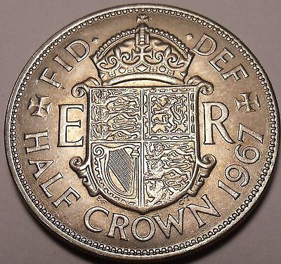 Huge Awesome Unc Great Britain 1967 Half Crown~Free Shi