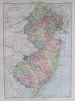 OLD ANTIQUE MAP NEW JERSEY AMERICA UNITED STATES c1880's