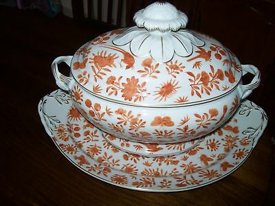 Mottahedeh Sacred Butterfly Large Soup Tureen & Plate