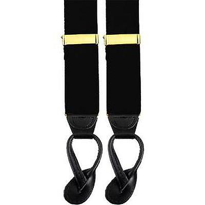 Military Black Suspenders With Leather Ends