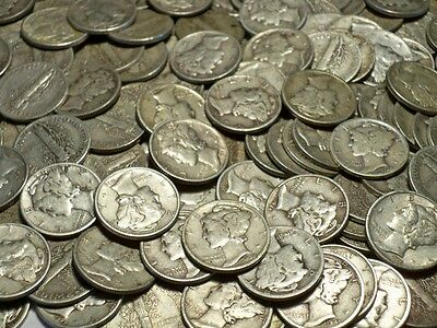 8 Mercury Silver Dime Coins Only Lot