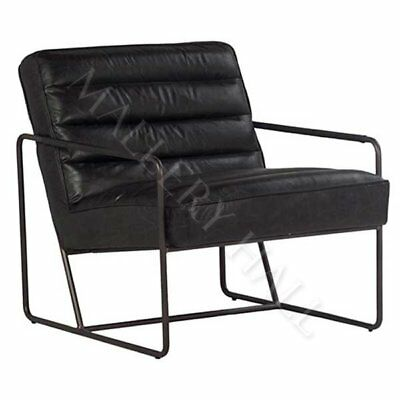 Modern Sling Chair Ebony Rubbed Leather