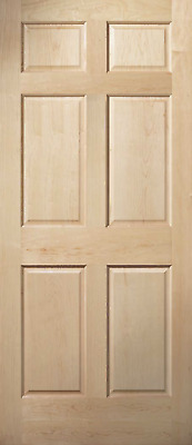 6 Panel Clear Maple Traditional Raised Panel Solid Core Interior Wood Doors