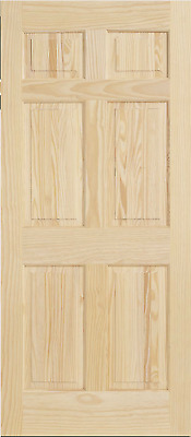 6 Panel Raised Clear Pine Stain Grade Solid Core Interior Wood Doors 6'8 Prehung