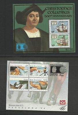 New Zealand 1992 Columbian Stamp Expo 2 X Ms