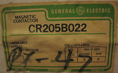 GE CR205B022 Magnetic Contactor, Size 0 3 Pole