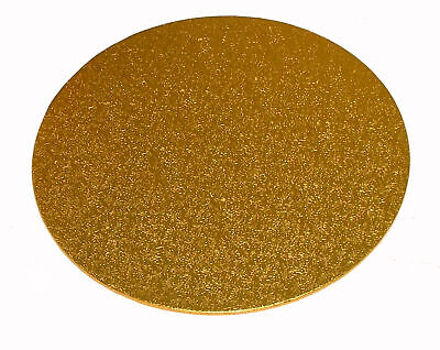 """2 x 8"""" Inch Round Gold Cake Board Card 3mm DOUBLE THICK"""